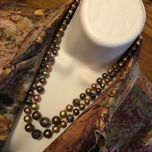 Vintage Jewelry - Painted Celluloid 2 Strand Gold Tone Necklace